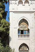 TETOUAN, MOROCCO - 5th April 2016 - Tetouan Medina old arched window shutter architecture, Rif region of Northern Morocco.