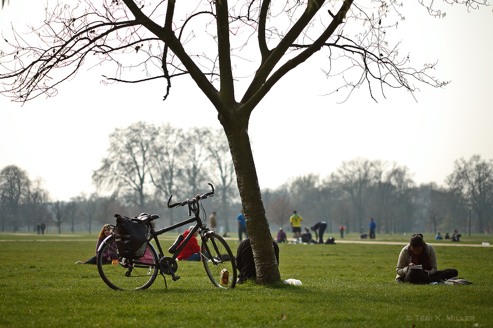 Visitors enjoy the spring weather at Hyde Park, London, England.