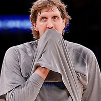 12 April 2014:  Dallas Mavericks forward Dirk Nowitzki (41) warms up prior to the Dallas Mavericks 120-106 victory over the Los Angeles Lakers, at the Staples Center, Los Angeles, California, USA.