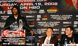 February 19, 2008; Newark, NJ, USA;  Ring Magazine Light Heavyweight Champion Bernard Hopkins (l) speaks at the press conference announcing his April 19, 2008 fight against Ring Magazine Super Middleweight Champion Joe Calzaghe (r).  The two will meet at the Thomas & Mack Center in Las Vegas, NV.