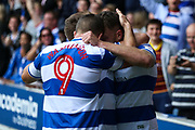 Jordan Spence of Ipswich Town celebrates with teammates after scoring the first goal of the match during the EFL Sky Bet Championship match between Queens Park Rangers and Ipswich Town at the Loftus Road Stadium, London, England on 9 September 2017. Photo by Alfred Oshodi.