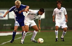 Joni Aho vs Mitja Viler during the Qualifications for UEFA U-21 EC 2009 soccer match between Slovenia and Finland at Velenje stadion At lake, on September 9,2008, in Velenje, Slovenia.  (Photo by Vid Ponikvar / Sportal Images)