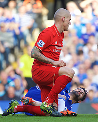 LONDON, ENGLAND - Saturday, October 31, 2015: Liverpool's Martin Skrtel gets up after being kicked in the chest by Chelsea's Diego Costa during the Premier League match at Stamford Bridge. (Pic by Lexie Lin/Propaganda)