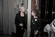 SALLY BRAMPTON; ; ZOE WANAMAKER; , Veuve Clicquot Tribute award dinner for Ruby Wax for her outstanding contribution to the greater understanding of mental illness in the UK. Berkeley Hotel, London. 25 November 2011.