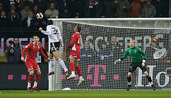 FRANKFURT, GERMANY - Wednesday, November 21, 2007: Germany's Mario Go?mez heads wide of the Wales goal during the final UEFA Euro 2008 Qualifying Group D match at the Commerzbank Arena. (Pic by David Rawcliffe/Propaganda)