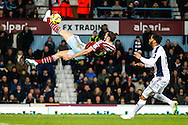 Andy Carroll of West Ham United attempts an overhead kick during the Barclays Premier League match at the Boleyn Ground, London<br /> Picture by David Horn/Focus Images Ltd +44 7545 970036<br /> 01/01/2015