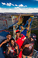 Crew of the 100 meter (328 foot) bungee jump at Orlando Towers at the decomissioned Orlando Power Station (former coal fired power station), Soweto, Johannesburg, South Africa.