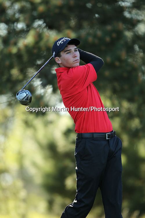 Jacob Roberts of St Bedes College tees off during the 2013 NZ Secondary Schools Golf Championship at Templeton Club, Christchurch, New Zealand. 2 September 2013. Photo: Martin Hunter/photosport.co.nz