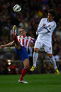 "MADRID, SPAIN - APRIL 27: (L) Diego Godin of Club Atletico de Madrid competes for the ball with (R) Ricardo Izecson ""Kaka"" of Real Madrid CF during the Liga BBVA between Club Atletico de Madrid and Real Madrid CF at the Vicente Calderon stadium on April 27, 2013 in Madrid, Spain. (Photo by Aitor Alcalde Colomer)."