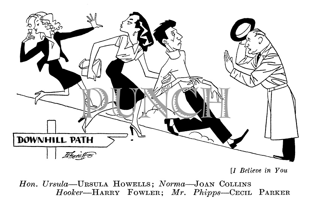 I Believe in You ; Ursella Howells , Joan Collins , Harry Fowler and Cecil Parker .