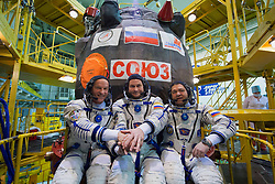 File image dated 04 Mar 2016.In the Integration Facility at the Baikonur Cosmodrome in Kazakhstan, Expedition 47-48 crewmembers Jeff Williams of NASA (left) and Alexey Ovchinin (center) and Oleg Skripochka (right) of Roscosmos pose for pictures March 4 in front of their Soyuz TMA-20M spacecraft in their Russian Sokol launch and entry suits during final pre-launch training. The trio will launch March 19, Kazakh time, for a six-month mission on the International Space Station. Flight Engineer Jeff Williams of NASA - who is a grandfather of three and 58 years old - is set to break fellow US astronaut Scott Kelly's record of the American with the most cumulative days in space. Kelly returned from his year in space with a total of 520 days in space, but Williams will return from this mission with a total of 534 days. EXPA Pictures © 2016, PhotoCredit: EXPA/ Photoshot/ Atlas Photo Archive/ROSCOSMOS/NASA<br /> <br /> *****ATTENTION - for AUT, SLO, CRO, SRB, BIH, MAZ, SUI only*****