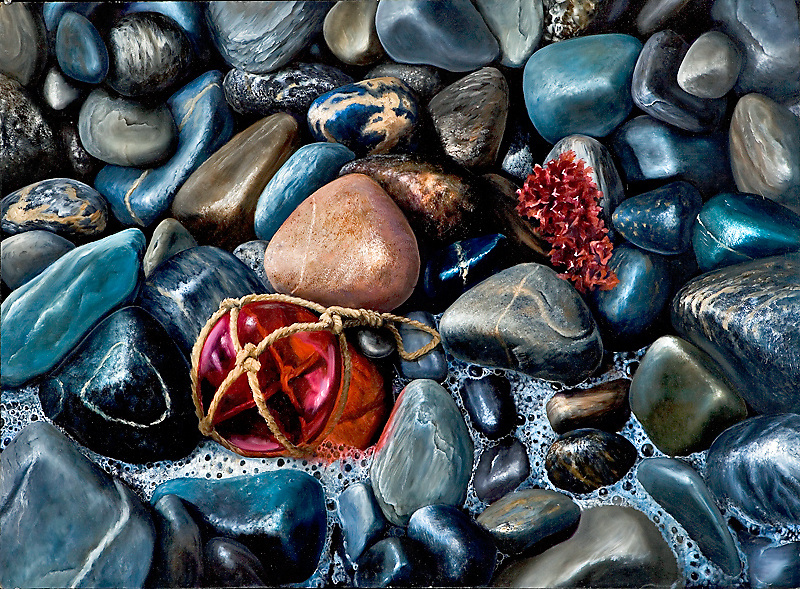 Polished stones in varied shades of black line the ocean beaches of Maine.  Inspired by the shores around Portland and Acadia National Park, this painting juxtaposes a single glass buoy against the unyielding stones. <br />