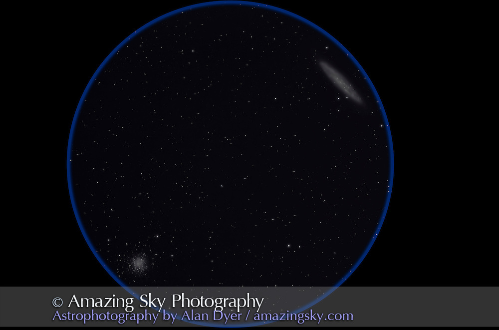The Silver Coin Galaxy, NGC 253, in Sculptor with globular cluster NGC 288 near South Galactic Pole. Taken from Timor Cottage, Coonabarabran, NSW, Australia, December 12, 2010. This is a stack of 4 x 8 minute exposures at ISO 1600 with Canon 5D MkII camera on 105mm Astro-Physics Traveler apo refractor at f/5.8 with 6x7 field flattener. Taken under partly moonlit skies and with object getting low in west.