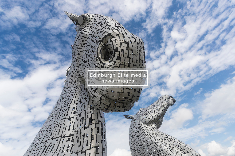 The Kelpies designed by Andy Scott in Falkirk on a summers day.