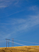 Electric power transmission lines cross the Blue Mountain foothills, WA, USA