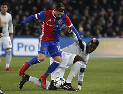 BASEL, Nov. 23, 2017  Manchester United's Paul Pogba (R) vies with Basel's Renato Steffen during the UEFA Champions League group A match between Basel and Manchester United in Basel, Switzerland, Nov. 22, 2017. Basel won 1-0. (Credit Image: © Ruben Sprich/Xinhua via ZUMA Wire)