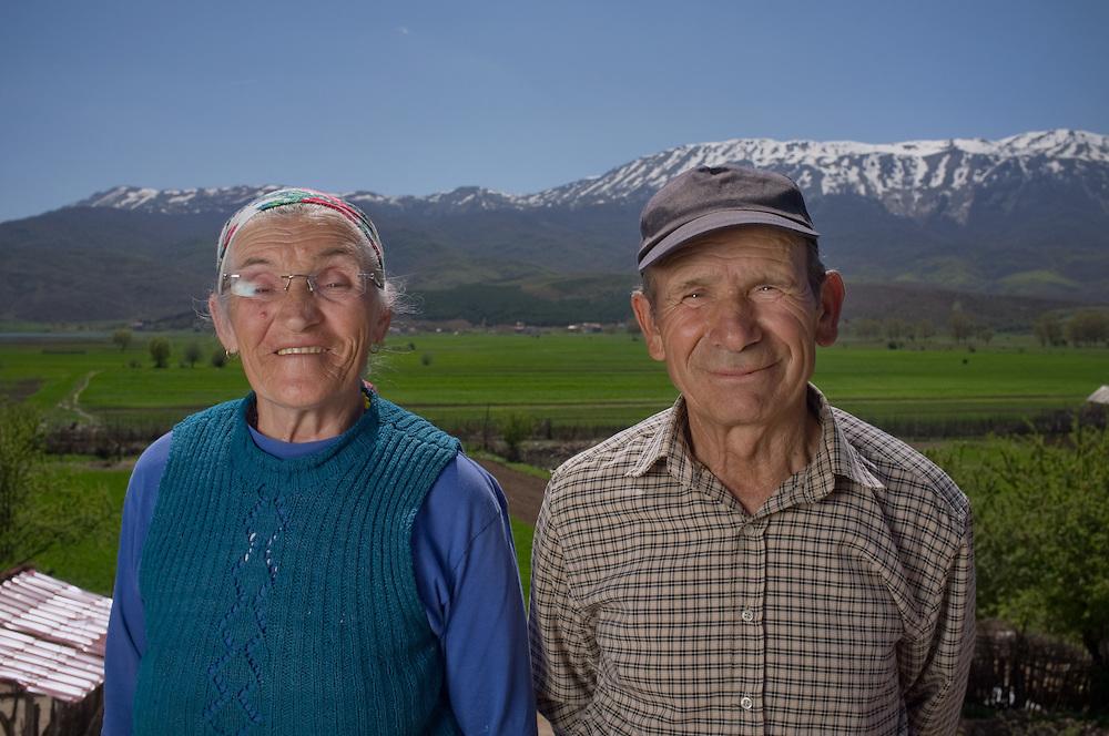 Rodina and Stefan Burmo (70) in the village of Tuminec, Albania