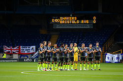 Bristol Rovers players take part in a minute's applause in memory of the victims of the Barcelona terror attack - Mandatory by-line: Matt McNulty/JMP - 19/08/2017 - FOOTBALL - Gigg Lane - Bury, England - Bury v Bristol Rovers - Sky Bet League One