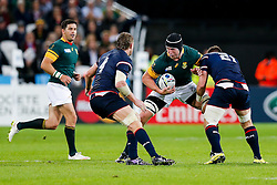 South Africa replacement Pieter-Steph Du Toit is tackled by USA replacement Al McFarland and Lock Louis Stanfill - Mandatory byline: Rogan Thomson/JMP - 07966 386802 - 07/10/2015 - RUGBY UNION - The Stadium, Queen Elizabeth Olympic Park - London, England - South Africa v USA - Rugby World Cup 2015 Pool B.