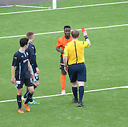 Dundee United's Justin Johnson is red carded for simulation - Dundee v Dundee United under 20s<br /> <br />  - &copy; David Young - www.davidyoungphoto.co.uk - email: davidyoungphoto@gmail.com