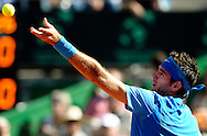 Argentina's tennis player Juan Martin Del Potro serves to Croatia's Marin Cilic during a 2012 Davis Cup quarterfinal match at Parque Roca stadium in Buenos Aires on April 8, 2012.  Del Potro won 6-1, 6-2 and 6-1 and gave the series to Argentina.  (PHOTOXPHOTO/Alejandro PAGNI).