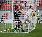 Dundee&rsquo;s Nicky Low and  Paul McGowan try to get the ball back from Hamilton&rsquo;s Dougie Imrie after Gary Harkins goal - Hamilton v Dundee, Ladbrokes Scottish Premiership at New Douglas Park<br />  <br />  - &copy; David Young - www.davidyoungphoto.co.uk - email: davidyoungphoto@gmail.com