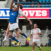Silao Talimao of Samoa goes up for a high ball with Harry Glover of England at the Silicon Valley Sevens in San Jose, California. November 4, 2017. <br /> <br /> By Jack Megaw.<br /> <br /> <br /> <br /> www.jackmegaw.com<br /> <br /> jack@jackmegaw.com<br /> @jackmegawphoto<br /> [US] +1 610.764.3094<br /> [UK] +44 07481 764811