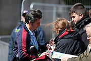 Burnley midfielder Joey Barton (13) signing autographs  during the Sky Bet Championship match between Burnley and Queens Park Rangers at Turf Moor, Burnley, England on 2 May 2016. Photo by Simon Davies.