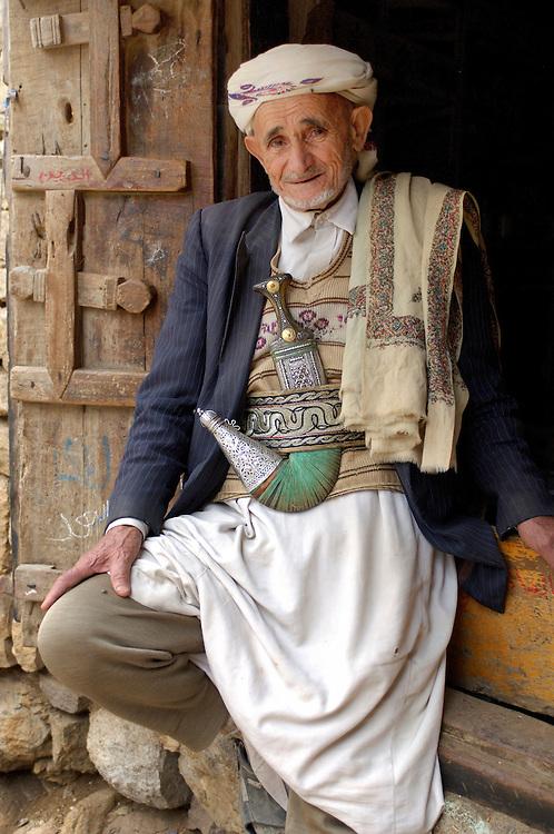 Yemen man with traditional Djambia, dagger, Al-Hajjara, Haraz Mountains, North Yemen, Yemen, Arabian Peninsula