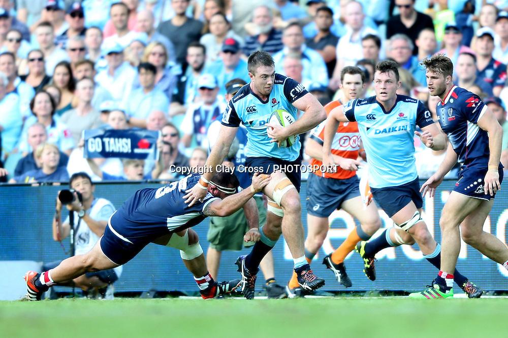 Jed Holloway. Waratahs v Rebels, Super Rugby Round 6. Played at Allianz Stadium, Sydney Australia on Sunday 3 April 2016. Copyright Photo: Clay Cross / photosport.nz