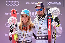 14.03.2019, Soldeu, AND, FIS Weltcup Ski Alpin, SuperG, Siegerehrung, Weltcupwertung, im Bild Mikaela Shiffrin (USA, Siegerin Slalom, Riesenslalom, Super G und Gesamteltcup) Dominic Paris (ITA, erster Platz Super G Weltcup, zweiter Platz Abfahrts Weltcup) // first place SuperG World Cup Mikaela Shiffrin of the USA first place Super G World Cup Dominic Paris of Italy during the winner ceremony for the Super-G Worldcup rating of FIS Ski Alpine World Cup finals. Soldeu, Andorra on 2019/03/14. EXPA Pictures © 2019, PhotoCredit: EXPA/ Erich Spiess
