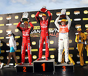 Garth Tander with Will Davison and Jamie Whincup after the Norton 360 Sandown Challenge held at the Sandown International Motor Raceway, Victoria on Sunday 2nd August. 2009 V8 Supercar Series Rounds 13 and 14. Photo © Clay Cross/PHOTOSPORT