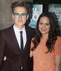 "Grosvenor House Hotel, London, September 7th 2016. Celebrities attend the RSPCA's annual awards ceremony recognising the country's bravest animals and the individuals committed to improving their lives. PICTURED: Tom Fletcher from the band McFly and his wife Giovanna ""Gi"" Falcone"