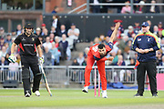 Lancashire Lightnings Saqib Mahmood  during the Vitality T20 Blast North Group match between Lancashire Lightning and Leicestershire Foxes at the Emirates, Old Trafford, Manchester, United Kingdom on 30 August 2019.