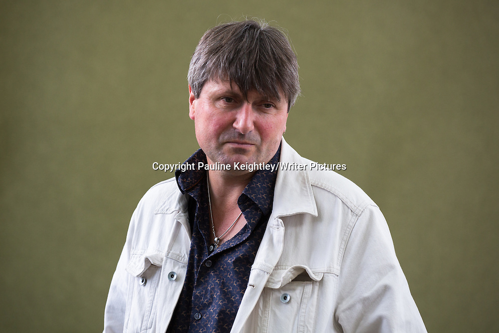 Simon Armitage, English poet, playwright and novelist, gave a talk at Edinburgh International book festival 2014 on his book Paper Aeroplane. 24th August 2014. Edinburgh Scotland. <br /> <br /> Picture by Pauline Keightley/Writer Pictures