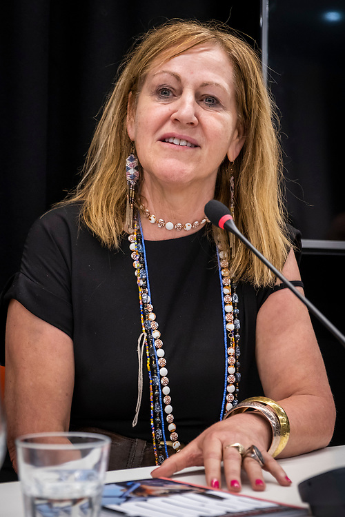 Paula Harriott of The Prison Reform Trust speaking at The Justice Gap and Byline Media  launch Proof magazine at the NUJ head office, central London. 9th July 2019. (photo by Andy Aitchison)