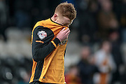 Sam Clucas (Hull City) reacts to missing the target and putting Hull City into the lead during the Sky Bet Championship match between Hull City and Sheffield Wednesday at the KC Stadium, Kingston upon Hull, England on 26 February 2016. Photo by Mark P Doherty.