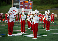 The Sachems Marching Band welcomes the crowd at the Football team takes the field for the opening game Friday night at Jim Fitzgerald Field.  (Karen Bobotas/for the Laconia Daily Sun)