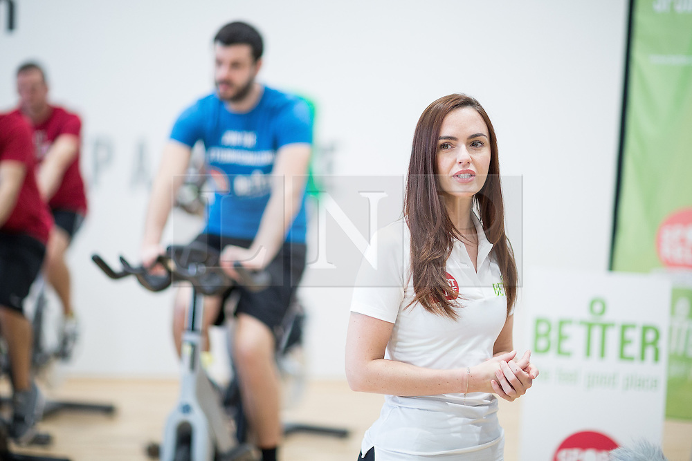 """© Licensed to London News Pictures . 01/03/2016 . Manchester , UK . Hollyoaks actress JENNIFER METCALFE launches a national fundraiser , """" The Better Bike Challenge """" from the East Manchester Leisure Centre in Beswick . The Challenge features 10,000 people cycling one-mile , each donating £1 to #TeamBetter for Sport Relief . Photo credit : Joel Goodman/LNP"""