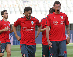 11.06.2015, Stadion Poljud, Split, CRO, UEFA Euro 2016 Qualifikation, Kroatien vs Italien, Gruppe H, Training Kroatien, im Bild Darijo Srna, Mario Mandzukic // during trainig of Team Croatia prior to the UEFA EURO 2016 qualifier group H match between Croatia and and Italy at the Stadion Poljud in Split, Croatia on 2015/06/11. EXPA Pictures © 2015, PhotoCredit: EXPA/ Pixsell/ Ivo Cagalj<br /> <br /> *****ATTENTION - for AUT, SLO, SUI, SWE, ITA, FRA only*****