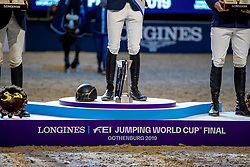 Podest, Podium, Pokal, Stiefel, Branding, Kappe<br /> Göteborg - Gothenburg Horse Show 2019 <br /> Longines FEI World Cup™ Jumping Final III - Prix giving ceremony<br /> Int. jumping competition over two rounds not against the clock with jump-off in case of point egality (1.50 - 1.60 m)<br /> Longines FEI Jumping World Cup™ Final and FEI Dressage World Cup™ Final<br /> 07. April 2019<br /> © www.sportfotos-lafrentz.de/Stefan Lafrentz