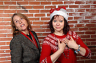 "Susan Robert as Harmony Joy Warble (left) and Tamra Francis as Melody Madrigal during Mayhem & Mystery's rehearsal of ""Caroling Catastrophe"" at the Spaghetti Warehouse in downtown Dayton, Sunday, November 2, 2014."
