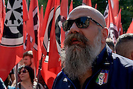 ROME, ITALY – MAY 21: Gianluca Iannone, president Casapound Italy far-right political movement during  march against the European Union and immigration policy, on May 21, 2016 in Rome, Italy. (Photo by Stefano Montesi/Corbis via Getty Images)