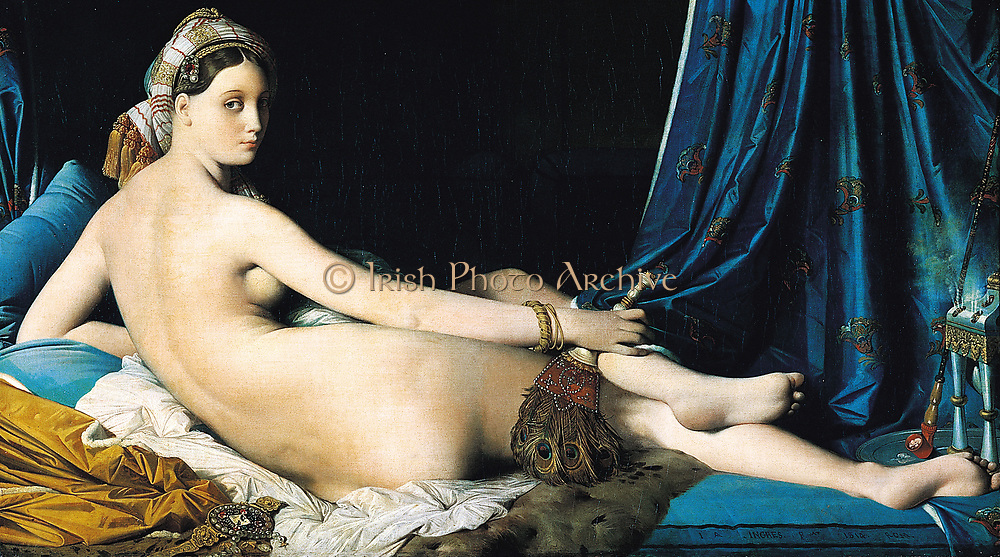 Jean Auguste Dominique Ingres (?????) (29 August 1780 – 14 January 1867) was a French Neoclassical painter , La Grande Odalisque, 1814