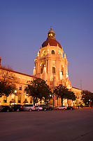 Pasadena City Hall Evening Lights, California