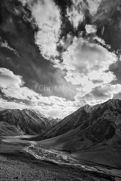 Peaks of the Greater Himalayan Range on the way into the Zanskar Valley over the Penzi La Pass.