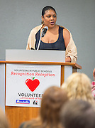 Caleen Allen comments during Volunteers in Public Schools recognition ceremony, May 14, 2015.