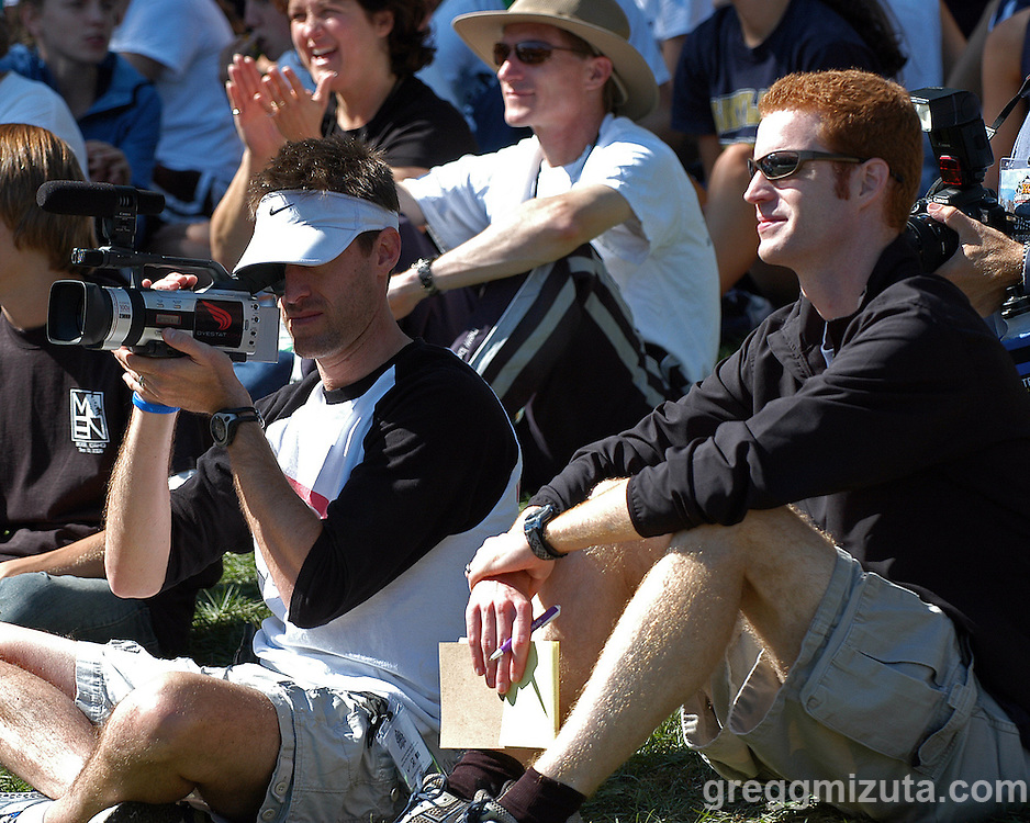 DyeStat videographer Marc Davis and journalist Dave Devine cover the awards ceremony at the Bob Firman Invitational on September 23, 2006 at Eagle Island State Park in Eagle, Idaho.