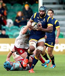 Tevita Cavubati of Worcester Warriors runs with the ball - Mandatory by-line: Robbie Stephenson/JMP - 28/01/2017 - RUGBY - Sixways Stadium - Worcester, England - Worcester Warriors v Harlequins - Anglo Welsh Cup