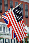 British Union Jack flag alongside American Stars and Stripes flag signifying detente and special relationship, Washington DC, USA
